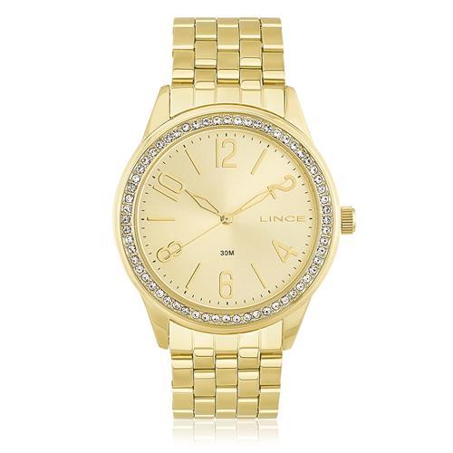 82d5ded82bc Relógio Feminino Lince Analógico LRG4338L C2KX Dourado com cristais