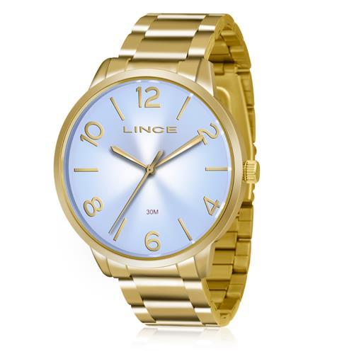 58c8e234617 Relógio Feminino Lince Analógico LRGJ045L A2KX Dourado com fundo Azul