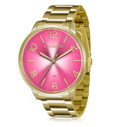 df598f2e90d Relógio Feminino Lince Analógico LRGJ045L R2KX Dourado Fundo Rosa