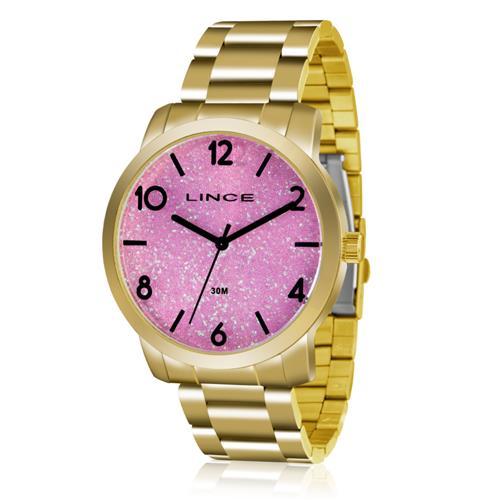 6ed67f91672 Relógio Feminino Lince Analógico LRG4366L R2KX Dourado com fundo Rosa