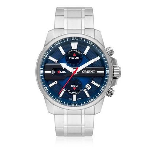 c18ef757137 Relógio Masculino Orient Analógico MBSSC163 D1SX Aço com fundo Azul