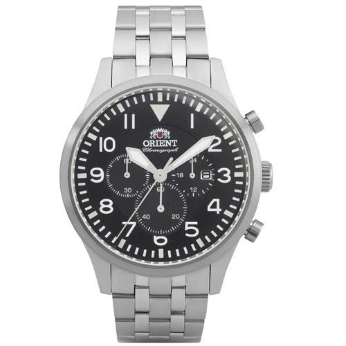 13e442a1fc5 Relógio Masculino Orient Chronograph Analógico MBSSC118 P2SX Aço com fundo  preto