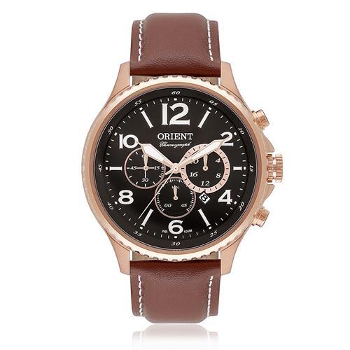 91a2a17dc85 Relógio Masculino Orient Chronograph Analógico MRSCC009 P2NX Aço Rose Couro  Marrom