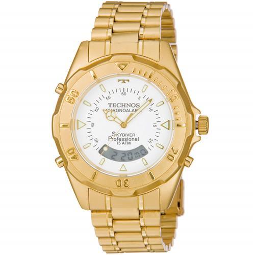 28047f96b7e Relógio Masculino Technos Skydiver Professional ANADIGI T20557 49B Aço  Dourado fundo branco
