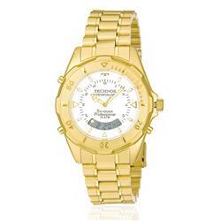 Relógio Masculino Technos Skydiver Professional ANADIGI T20557/49B Aço Dourado fundo branco