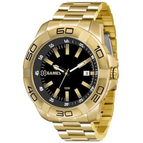 e9a6301856a Relógio Masculino XGames Analógico XMGS1020 P1KX Aço Dourado fundo preto