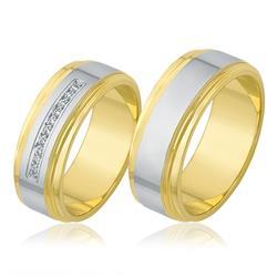 Par de Alianças Modelo Aro Externo com 10 Diamantes, em Ouro Amarelo