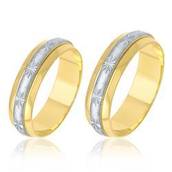 Par de Alianças Aro Duplo Giratório com efeito Diamantado, em Ouro Amarelo
