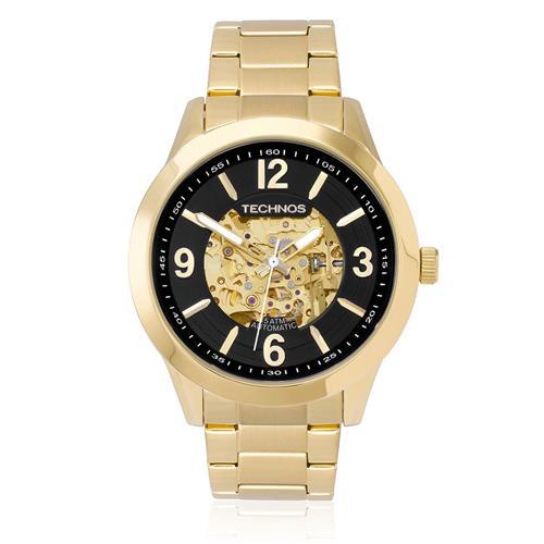 b59350ebce9a5 Relógio Masculino Technos Esqueleto 8N24AG 4P- Fundo Preto