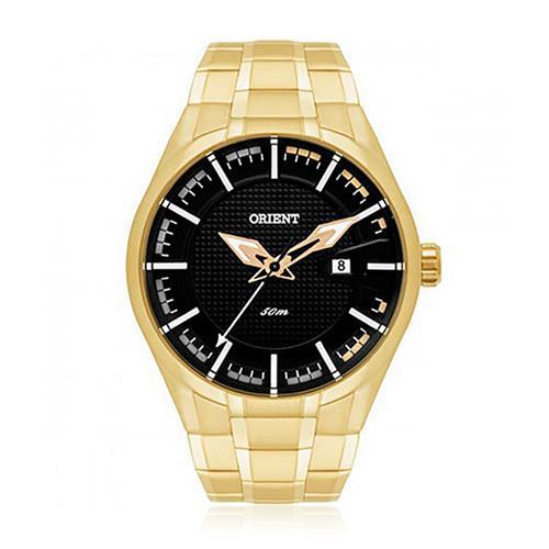 5eb566e6b49 Relógio Masculino Orient Analógico MGSS1101 P1KX Dourado com fundo Preto