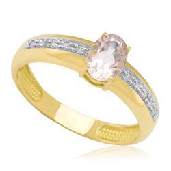 Anel com Morganita Oval e 6 Diamantes, em Ouro Amarelo
