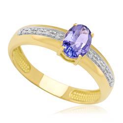 Anel com Tanzanita Oval e 6 Diamantes, em Ouro Amarelo