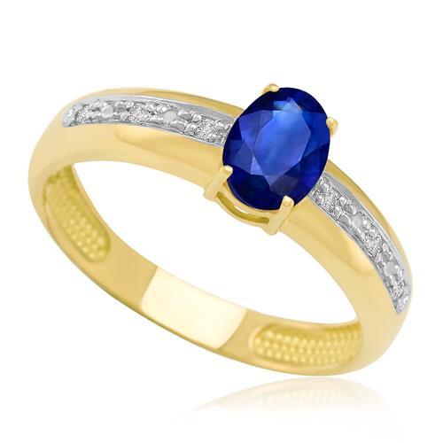 Anel com Safira Oval e 6 Diamantes, em Ouro Amarelo