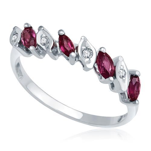 4ab1da4a02f41 Meia Aliança de Safira Rosa navetes e Diamantes, ouro branco