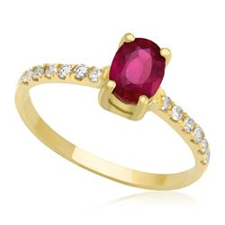 Anel de Rubi Oval com Diamantes no aro, em ouro Amarelo