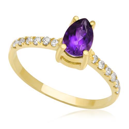 Anel de Ametista Gota com Diamantes no aro, em ouro Amarelo