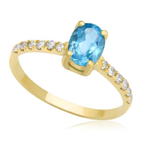 Anel de ouro Topázio Azul oval com Diamantes no aro 25773f81b5