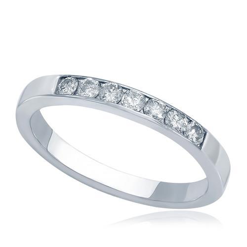 8bd91cd38a8 Meia Aliança de Diamantes brilhantes totalizando 30 pontos em Ouro Branco