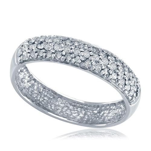 Meia Aliança de Diamantes brilhantes totalizando 40 pontos em Ouro Branco 33b7164a69