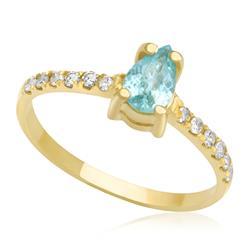 Anel com Turmalina paraiba Gota central com diamantes, ouro amarelo