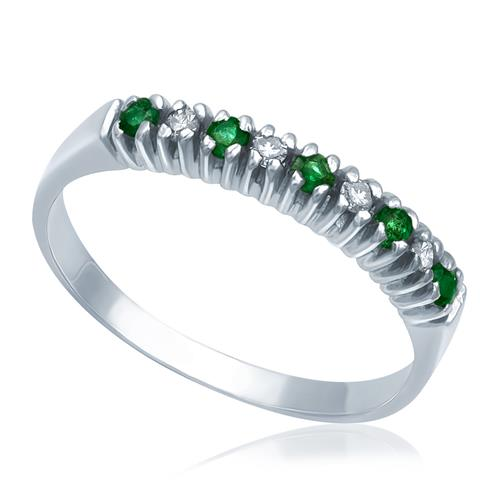 Meia Aliança de Diamantes com Esmeraldas em Ouro Branco