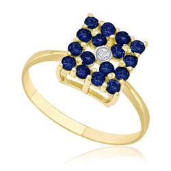 Anel Chuveiro Quadrado com 16 Safiras e 1 Diamante de 2 Pts, em Ouro Amarelo