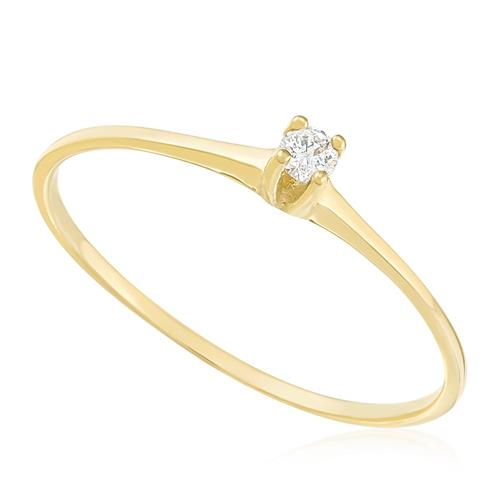 Anel Solitário com Diamante de 4 Pts, em Ouro Amarelo