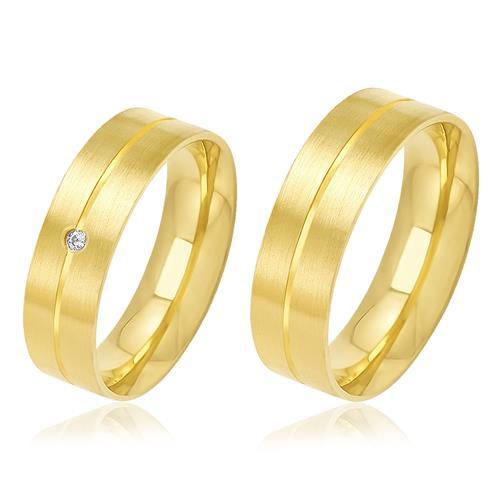 Par de Alianças Anatômicas Duplas com Diamante, em Ouro Amarelo
