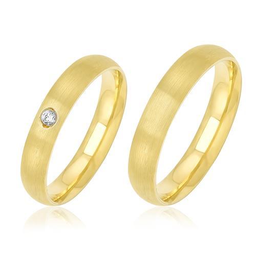 Par de Alianças Côncavas com 1 Diamante, em Ouro Amarelo