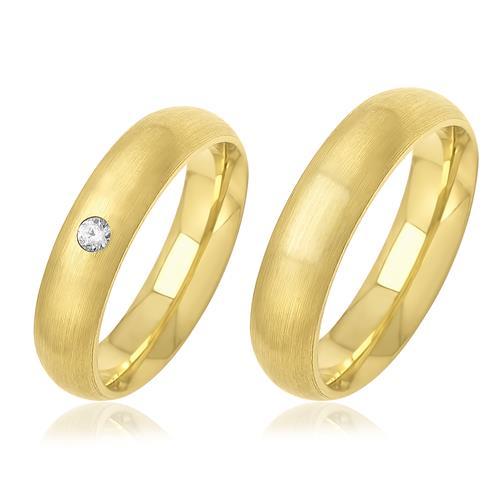 Par de Alianças Côncavas Anatômicas com 1 Diamante, em Ouro Amarelo