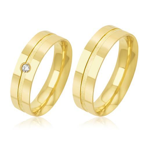 Par de Alianças Duplas com 1 Diamante em Ouro Amarelo