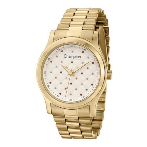 e84cd80392c Relógio Feminino Champion Analógico CN27974H Dourado com Cristais