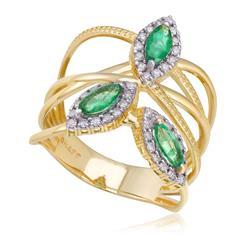 Anel com 42 Diamantes e Esmeraldas totalizando 90 pts., em Ouro Amarelo