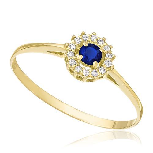 Anel com Safira Central e 14 Diamantes, em Ouro Amarelo
