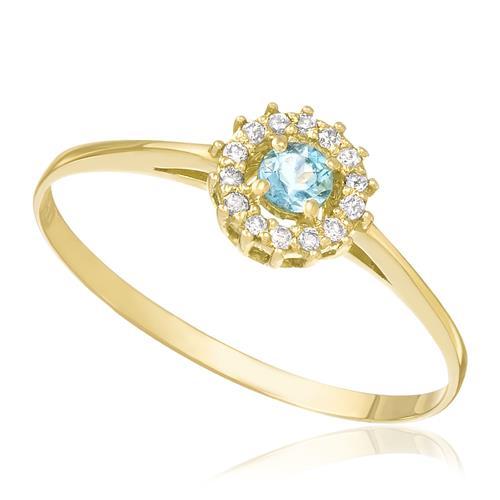 Anel com Água Marinha Oval e 14 Diamantes, em Ouro Amarelo