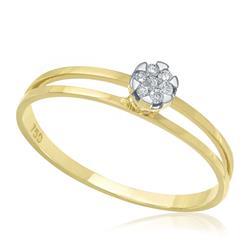 Anel com 7 Diamantes totalizando 6 Pts, em Ouro Amarelo