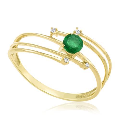 Anel com Esmeralda e 4 Diamantes, em Ouro Amarelo