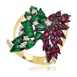Anel com 13 Esmeraldas, 38 Rubis e Diamantes totalizando 80 pts. em Ouro Amarelo