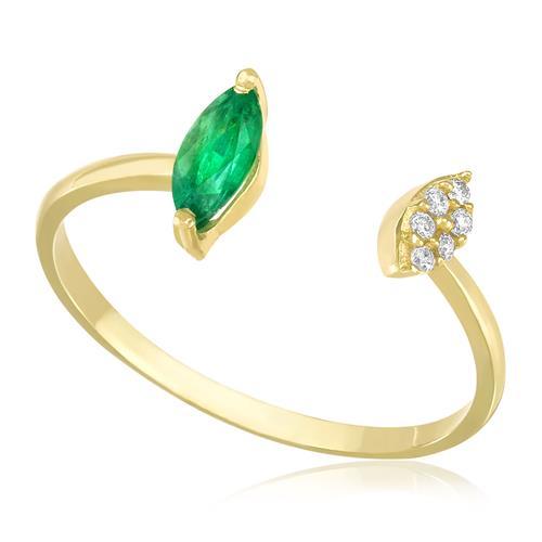 a7786dd6bac22 Anel Navetes com Esmeralda e Diamantes