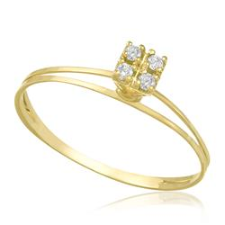 Anel com 4 Diamantes, em Ouro Amarelo
