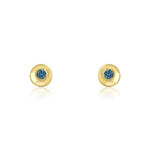Par de Brincos com Diamantes Azuis, em Ouro Amarelo