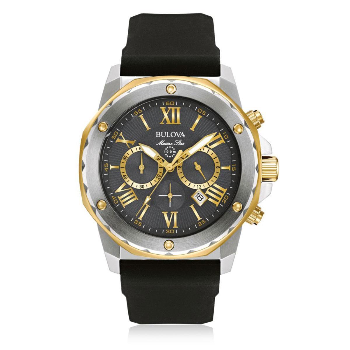 6952e1bca7180 Relógio Masculino Bulova Marine Star Quartz WB31943C Borracha Preta