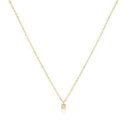 Pingente Ponto de Luz com Diamante de 5 Pts, em Ouro Amarelo