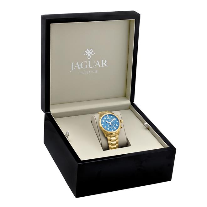 4934375e47b Relógio Masculino Jaguar Analógico J03CCGG02 Dourado fundo azul. Ampliar