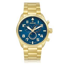 Relógio Masculino Jaguar Analógico J03CCGG02 Dourado fundo azul
