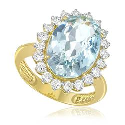 Anel com 20 Diamantes e Água Marinha de 7,39 Cts., em Ouro Amarelo