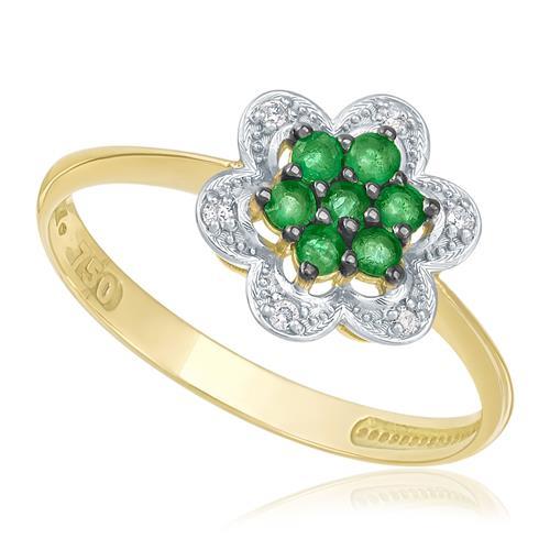 Anel de Ouro com 6 Diamantes e 7 Esmeraldas totalizando 21 Pts