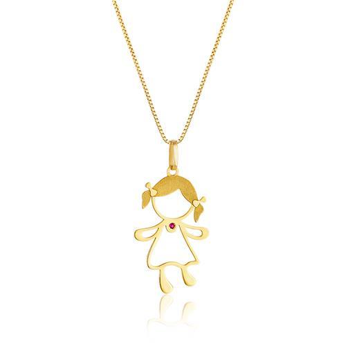 Corrente com Pingente Menina com Rubi, em Ouro Amarelo 017a10a014