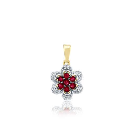 Pingente Flor com 7 Rubis e 6 Diamantes, em Ouro Amarelo