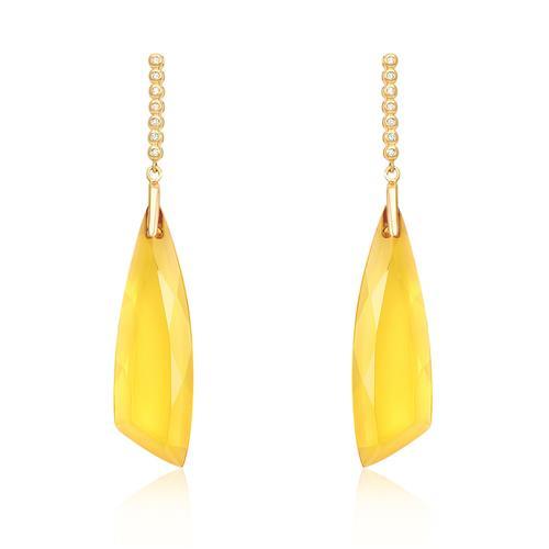 Par de Brincos com 14 Diamantes e Citrinos, em Ouro Amarelo
